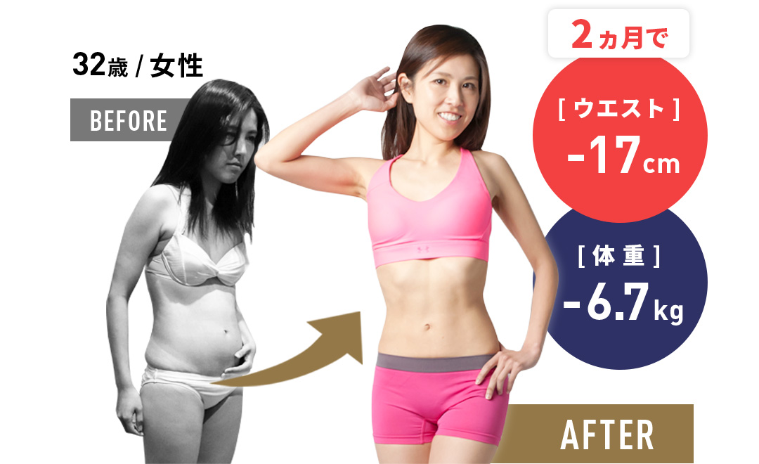2か月で ウェスト-17cm 体重-6.7kg